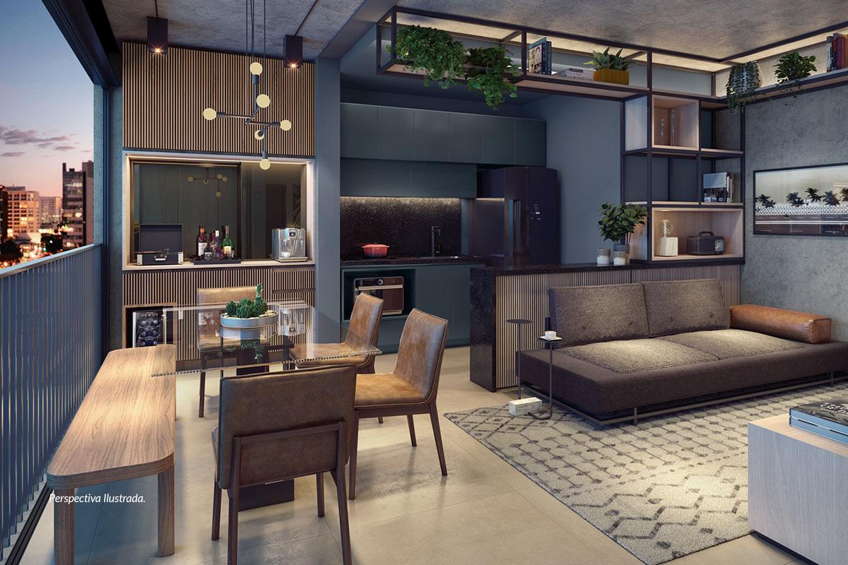 Apartamento de 47m² | Sala Compartilhada