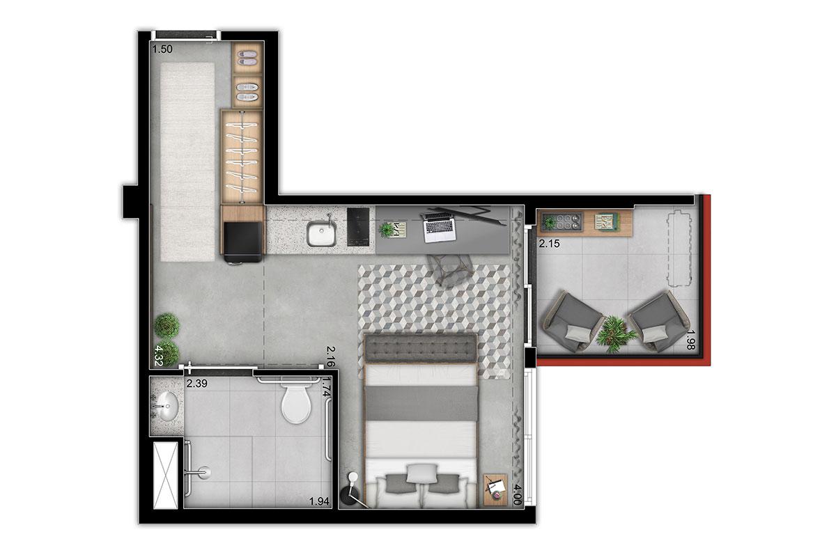 Urbic Sabiá - NR–30,75 m2